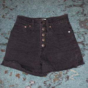 Madewell High Rise Denim Shorts in Black Frost